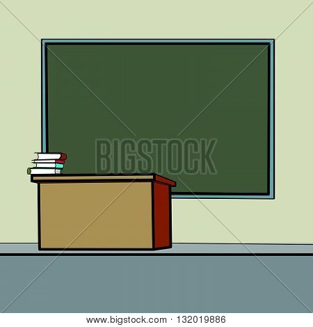 School Desk blackboard line art caricature. Education background school. School vector