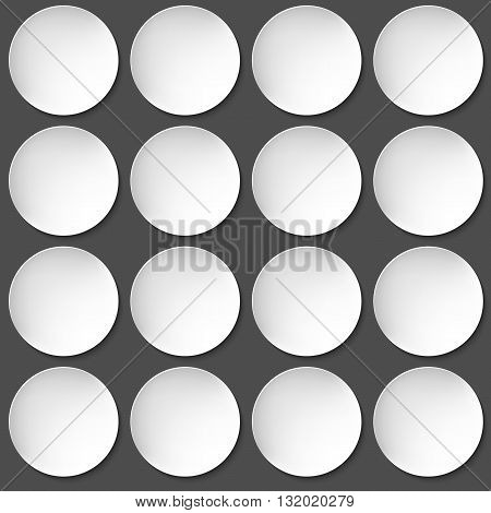 Group of Empty white paper plate. Vector round plate Illustration on black background. Plate background for your design.