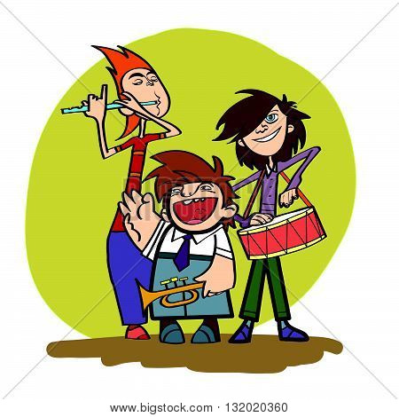 School orchestra music musical instruments line art caricature. Concert. School ensemble. Flute, drum, trumpet
