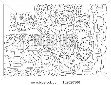 Nesting bird coloring page for adults, vector illustration adult coloring page bird on tree, detailed coloring page nature
