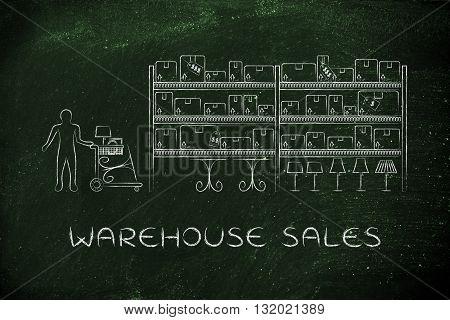 Customer Buying Furniture, Warehouse Sales