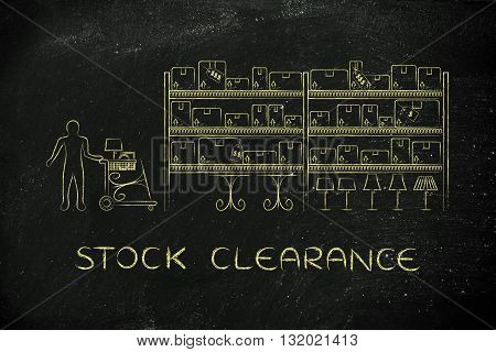 Customer Buying Furniture, Stock Clearance