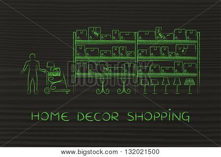 Customer Buying Furniture, Home Decor Shopping