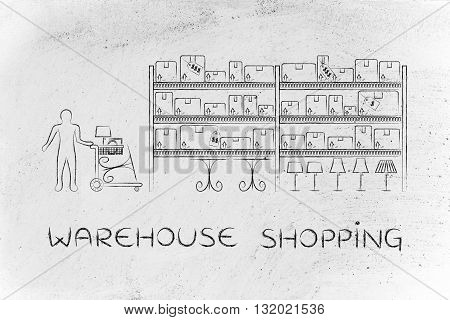 Customer Buying Furniture, Warehouse Shopping