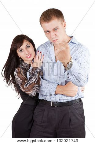 Young man protects the weak woman and  threatens his fist isolated on the white background