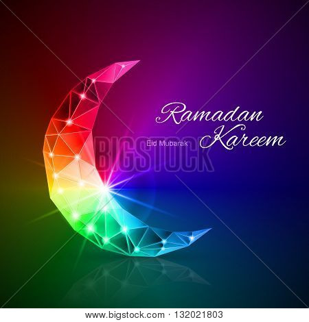 Ornate Crescent in rainbow shades. Greeting card of holy Muslim month Ramadan