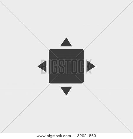 Full screen icon in a flat design in black color. Vector illustration eps10