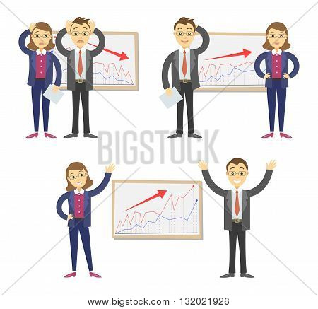 Businessmen and businesswomen on the background of the graph. Concept of success and failing in business. Vector illustration