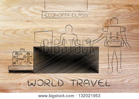 Traveler At Economy Class Airport Check-in, World Travel