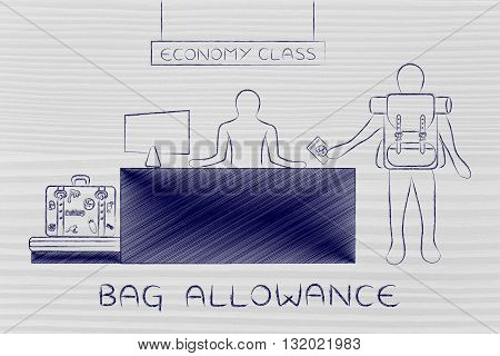 Traveler At Economy Class Airport Check-in, Bag Allowance