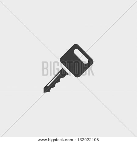 Key icon in a flat design in black color. Vector illustration eps10