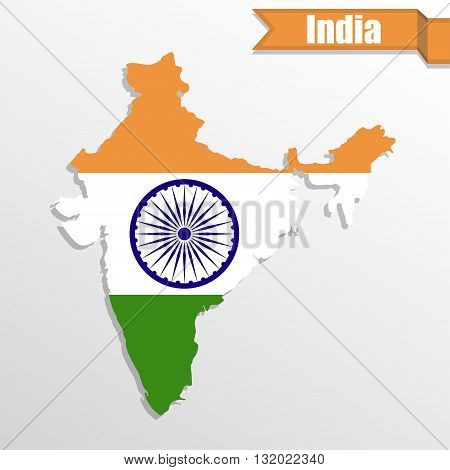 India map with flag inside and ribbon