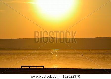 yellowish sunset on Lake Neusiedl - austria