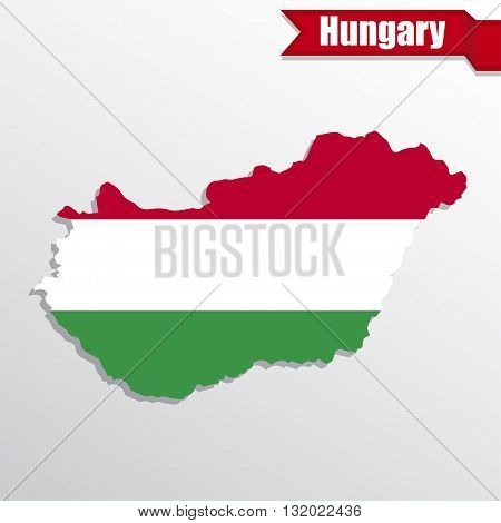 Hungary map with flag inside and ribbon