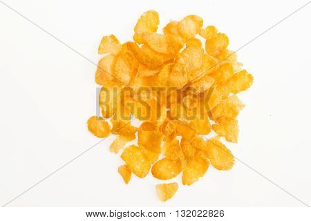 Corn Flakes On White Background