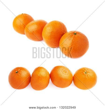 Four ripe orange fresh juicy tangerines fruits composition isolated over the white background,  set