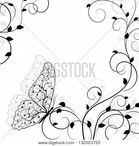 Beautiful natural background with buttetfly sitting on twine plant. Vector illustration in black and white style.