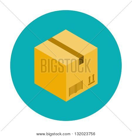 Cardboard box for packaging. Closed cardboard box flat icon