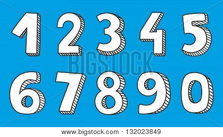 Hand drawn vector numbers on blue background