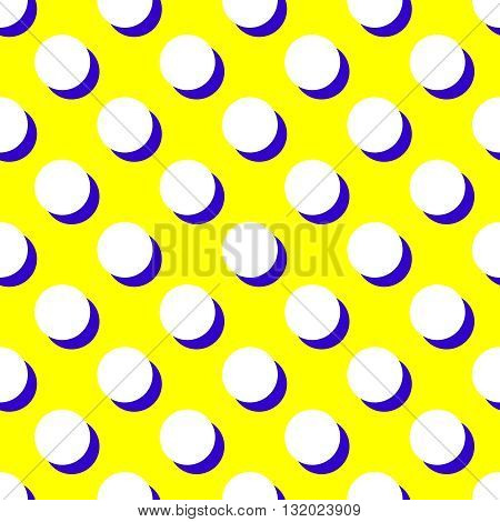 Tile vector pattern with white polka dots and blue shadow on yellow background