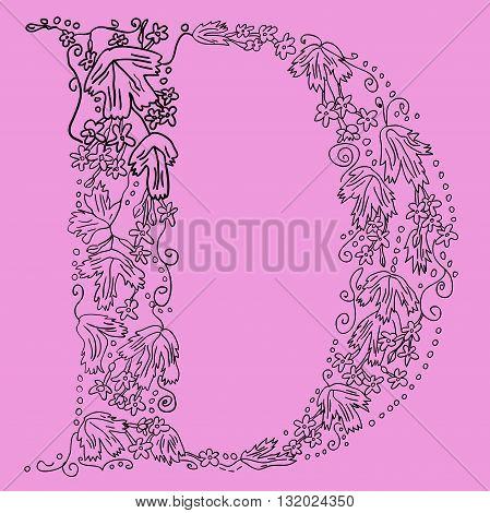 Herbarium font, type. Floral vector letters. Letter D. Flower alphabet. Zentagle.