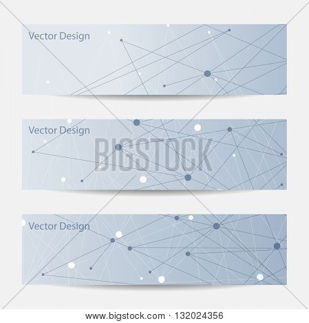 Set of horizontal banners. Abstract geometric background with connected lines and dots. Vector illustration.
