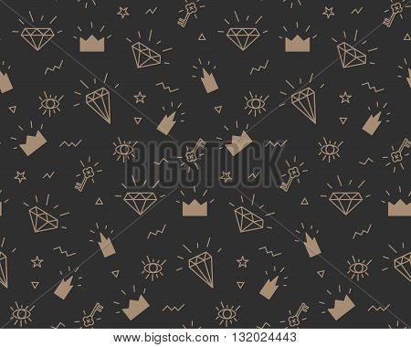 Vector pattern with elements of crowns and diamonds. Background fabric. Hipsters on black background
