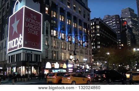 NEW YORK CITY, USA - MAY 22, 2015: General view of Macy's store in Times Square