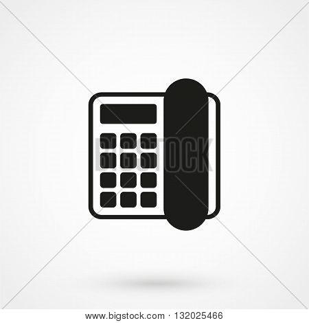Telephone Vector Icon Black On White Background