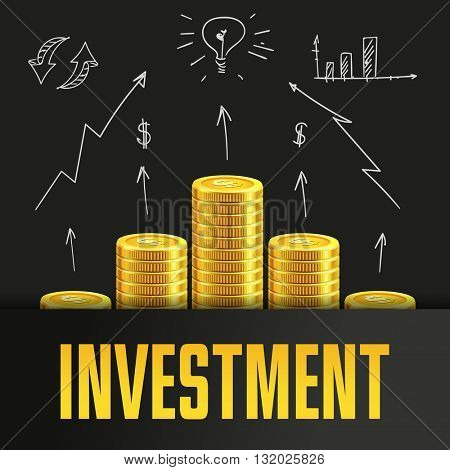 Investment poster or banner design template with golden coins and copy space for text. Vector illustration. Money making. Bank deposit. Financial. Gold and black. Business finance vector background.