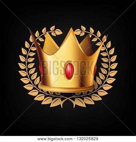 Golden Royal Crown with Laurel Wreath on Black Background. Vector Illustration.