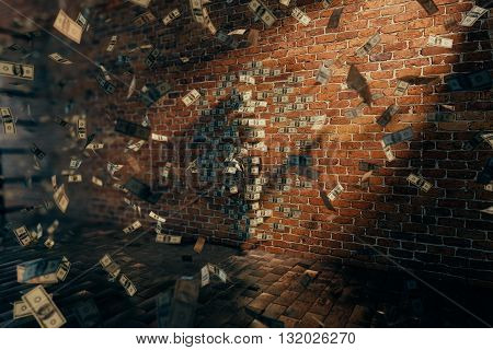 Invisible girl standing near brick wall with dollar bills, 3D Rendering