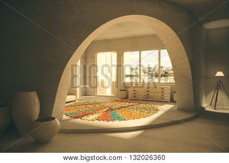 room interior with floor sofa tables and windows with city view. 3D Rendering
