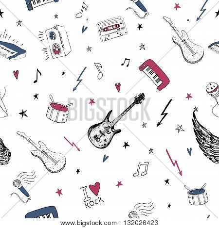 Music symbols. Seamless pattern. rock music background textures, musical hand drawn doodle style.