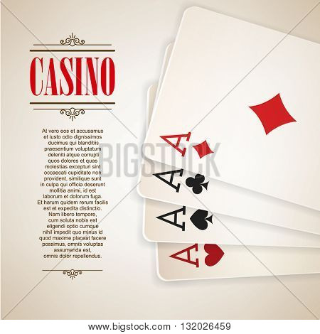 Casino logo poster background or flyer. Casino invitation or banner template With Playing Cards . Poker Game design. Playing casino games. Four Aces. Vector illustration.