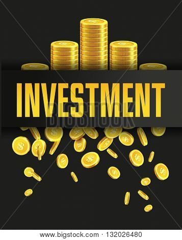 Investment poster or banner design template with golden coins and copy space for text. Vector illustration. Money making. Bank deposit. Financial. colors. Business finance vector background.