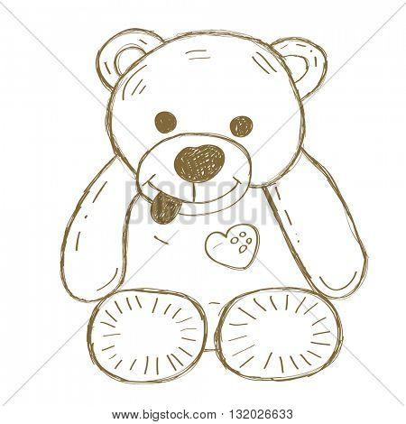 Hand drawn isolated Teddy bear. Doodle vector illustration.