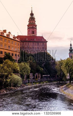castle in cesky Krumlov in the setting sun
