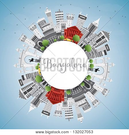 Bangalore Skyline with Gray Buildings, Blue Sky and Copy Space. Vector Illustration. Business Travel and Tourism Concept with Historic Buildings. Image for Presentation Banner Placard and Web Site.