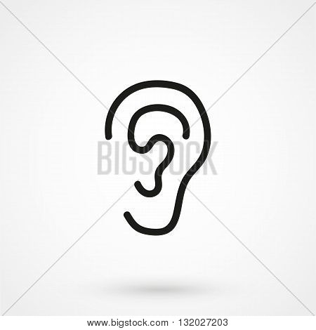 Ear Icon Vector Black On White Background