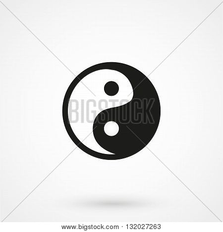 Yin Yang Icon Vector Black On White Background
