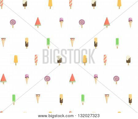 Funny summer pattern with ice cream. Several types of cream candy fruit vanilla watermelon. Bright pattern of the candy store.