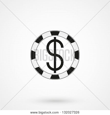 Gambling Chips Icon Black On White Background