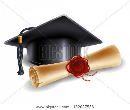 Black graduation cap and diploma isolated on white background. Back to school concept. Back to school icon. Congratulation Graduation. Vector illustration.