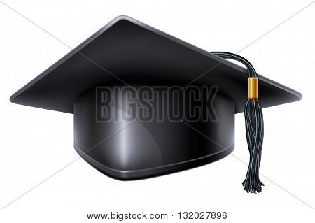 Black graduation cap with black and gold tassel. Isolated on white background. Graduation concept. Graduation icon. Vector illustration.
