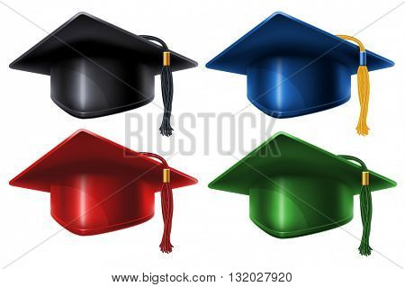 Set of different colored Graduation caps with black and gold tassel. Isolated on white background. Graduation concept. Graduation icon. Vector illustration.