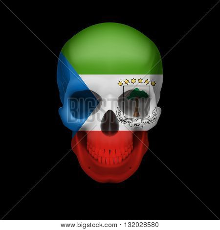 Human skull with flag of Equatorial Guinea. Threat to national security war or dying out