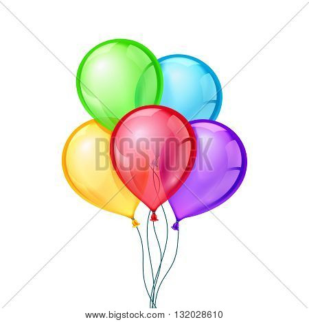 Celebratory vector balloons on isolated transparent background. Air balloon, inflatable balloon air, rubber air balloon flying, festival decoration birthday illustration
