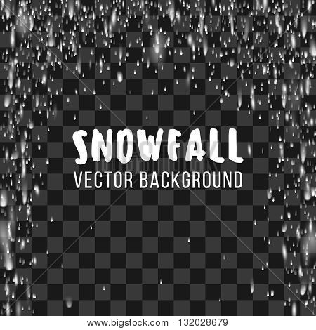 Snowfall on the transparent background. Vector abstract template. Snowfall winter, nature snowfall, chaotic snowfall snowstorm, phenomenon snowfall decoration illustration