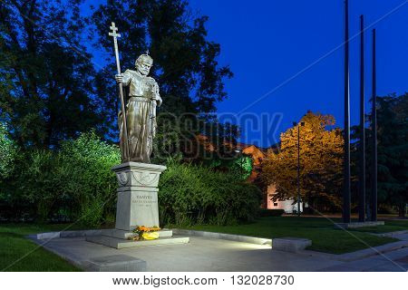 Night photo of Monument of bulgarian Tsar Samuel, Sofia, Bulgaria